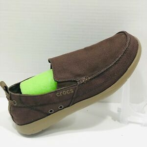 CROCS Brown Canvas Loafer Shoes 9 Slip On 11270 Pull On Tab Mens