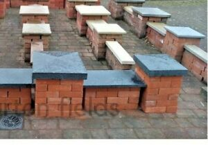 Wall Copings, Natural Black Granite Double Brick Wall Copings: 600x300x25mm