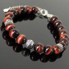 Yoga Enhancement Bracelet Red Tiger Eye 8mm Gemstones Sterling Silver Chain 1494