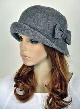 Cute Bow 2-Way-Use Winter Wool Fashion Lady Women's Hat Beanie Cap Grey