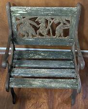 Vintage Cast Metal & Wood Slat Dinosaur Child Bench Yard Garden Patio Porch Deco