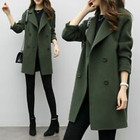 Women Fashion Korean Coat Jacket Double Breasted Outwear Slim Parka Trench Loose