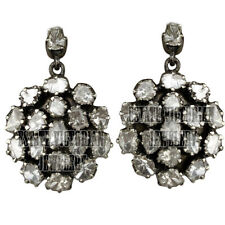3.62Cts Genuine Old Antique Cut Diamond Silver Vintage Cluster Earring Jewelry