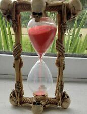 More details for vintage unusual skeleton  red sand timer 16cm high good condition