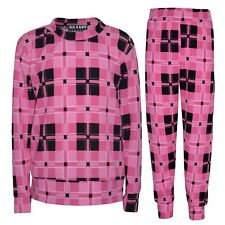 Girls Jogging Suit Kids Pink Checked Lounge Suit Tracksuit Top Bottom 7-13 Year