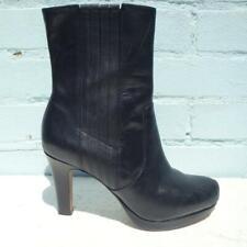 Clarks Ankle Leather Boots UK 6.5 Eur 39.5 Womens Platform Stiletto Black Boots