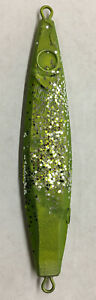Flutter Lure Jig Fishing Sinker Lead Weight Bottom Fish Green Glitter 5oz