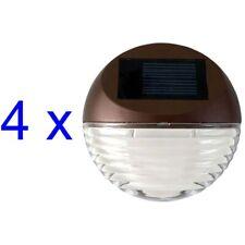 Solar Powered Round Mini LED Deck Light / Step Light, Bronze Finish, 4-Pack