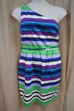 London Times Petite Dress Sz 14P White Green Multi One Shoulder Belted Pockets