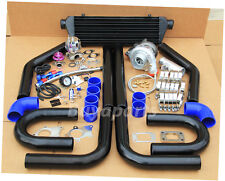 JDM 8x UNIVERSAL TURBO KIT T3/T4 TURBOCHARGER+ INTERCOOLER+ WASTEGATE BLACK/Blue