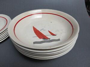 10 Vintage American Limoges MANHATTAN  Sebring Ohio Red Sail  DINNER PLATES