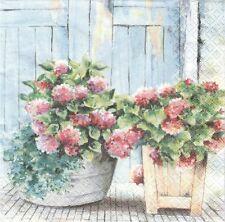2 Serviettes en papier Fleurs Hortensia Paper Napkins Cottage Hydrangea