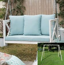 2 Piece Blue Cushion 4 Ft. Hanging Patio Porch Swing White Frame Stand Set