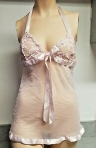 Frederick's Of Hollywood Sexy Pink Sheer Mesh Baby Doll Teddy Size Small