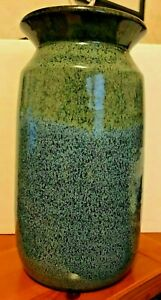 EARLY 80'S BLUE SPONGED/SPECKLE Pottery Flower Vase W/LARGE RIM OPENING