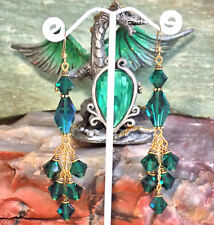 Chandelier Earrings w/Swarovski Emerald Crystal Beads, 14k Gold-filled Earwires