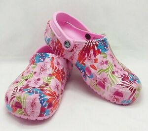 Crocs Classic Graphic Clog Carnation Candy Pink Floral Roomy Fit Womens 8 New