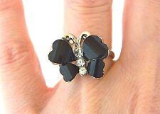Butterfly Fashion Ring Rhinestone Adjustable Black Silver Tone Size 7
