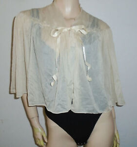 Vtg VANITY FAIR Tie Top Blouse Shirt NUDE Lace Ruched Nightie Teddy USA Md