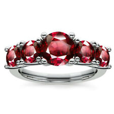 Natural Eternity Band Genuine 2.00 Ct Ruby Gemstone Rings 14K White Gold Size M