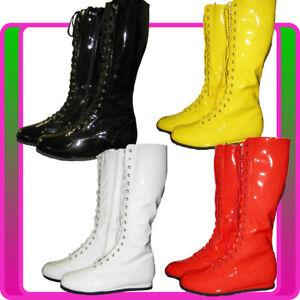Womens White Go Go Knee High Boots Gogo Hippie Hippy 60s 70s 80s 90s Disco Shoes