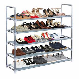 5 Tier Extendable Shoe Rack 25 Pairs Space Saving Storage Organiser Shelf