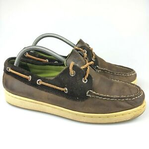 Sperry Mens Top Sider 10282228 Cup Brown Leather 2 Eye Boat Shoes Size 8.5