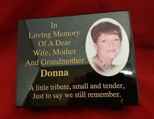 Personalised Black Granite Photo Memorial Grave Plaque Stone Any Wording