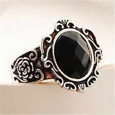 FD1484 Vintage Gothic Retro Personality Carved Black Stones Queen Mirror Ring A