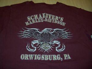 HARLEY DAVIDSON ORWIGSBURG, PA. BURGUNDY T-SHIRT MENS MEDIUM EXCELLENT CONDITION