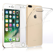 Ultra Thin Clear TPU Gel Case Cover & Mirror Tempered Glass for iPhone 7 5 5C 6S