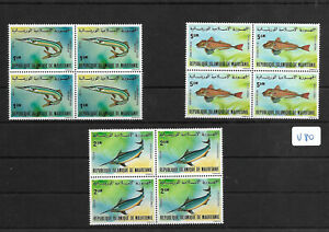 SMT, MAURITANIA,1979, a very rare fishes set, luxury block of 4, MNH, € 1200++++