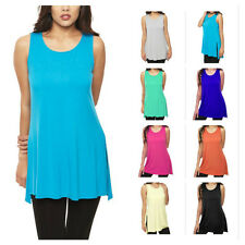 USA Women Solid Bamboo Sleeveless Tunic Top Dress Casual Side Slit Long T-Shirt