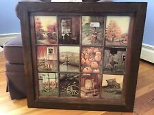 Vintage Home Interior 12 Panel Window Pane Pictures by B. Mitchell