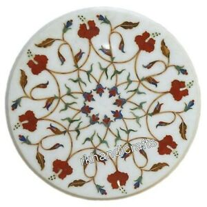 14 Inch Marble Coffee Table Top Inlay End Table with Floral Design Home Assents