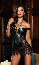 Faux Leather Bra Strap Boned Lingerie & Nightwear for Women