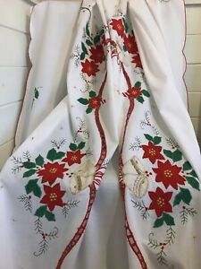 Large Vintage Christmas Tablecloth Cotton with Appliqué Poinsettia Holly Bells
