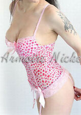 Woo Lady Pink Heart Enchanting Stretch lace Bustier Padded cups Sexy lingerie