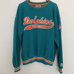 Vintage Miami Dolphins Football NFL Pro Line Starter Pullover Sweater Mens Large