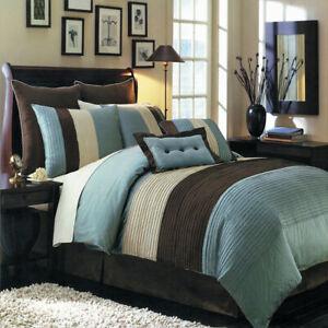 Hudson 6-8 Piece Blue Complete Microfiber Comforter Set