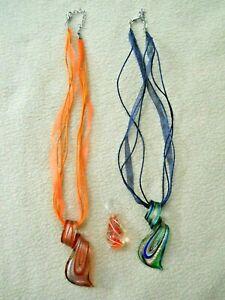 3 Blown Glass pendants / Necklaces
