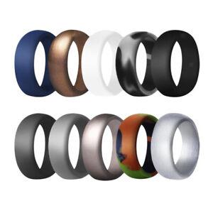 Blesiya 10Pcs Women Men 8.7mm Wide   Rubber Silicone Wedding Ring Band