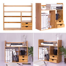 Desktop Book Shelf Tidy Organizer Bamboo Rack Home Office Storage Drawers Stand