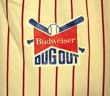 BUDWEISER lrg baseball jersey Anheuser-Busch Dugout nylon Sand-Knit pin-stripes