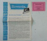 Rowenta Bügelautomat federleicht Bedienungsanleitung B12584