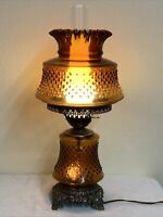 WORKS! VINTAGE BROWN AMBER HOBNAIL HURRICANE ELECTRIC GLASS TABLE LAMP GWTW