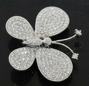 18K white gold beautiful .93CTW VS diamond cluster butterfly brooch/pendant