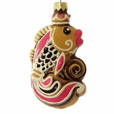 """""""Fish - Gingerbread Cookie"""" Glass Christmas Ornament."""