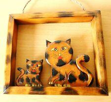Bilderrahmen  süsses Katzenpaar Holz  Dekoration Tier Katze  17,5 x 15 cm