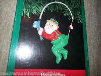 HALLMARK Keepsake Ornament 1991 HOOKED ON SANTA Christmas Ornament FISHING New